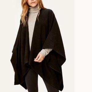 Lolë Solid Black Wool Blend Cape Poncho